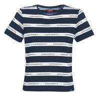 Υφασμάτινα Γυναίκα T-shirt με κοντά μανίκια Superdry COTE STRIPE TEXT TEE Marine