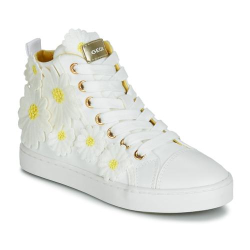 Παπούτσια Κορίτσι Ψηλά Sneakers Geox JR CIAK GIRL Άσπρο / Fleurs / Jaunes