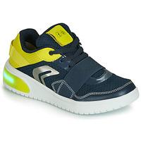 Παπούτσια Αγόρι Χαμηλά Sneakers Geox J XLED BOY Μπλέ / Yellow / Led