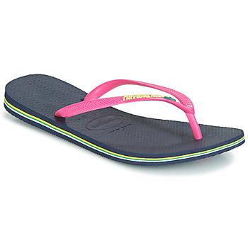 Παπούτσια Γυναίκα Σαγιονάρες Havaianas SLIM BRASIL LOGO Navy / Pink