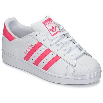 Παπούτσια Κορίτσι Χαμηλά Sneakers adidas Originals SUPERSTAR J Άσπρο / Ροζ