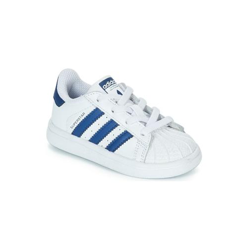 Παπούτσια Παιδί Χαμηλά Sneakers adidas Originals SUPERSTAR EL Άσπρο / Μπλέ