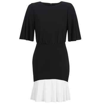 Υφασμάτινα Γυναίκα Κοντά Φορέματα Lauren Ralph Lauren ELBOW SLEEVE DAY DRESS Black / Άσπρο