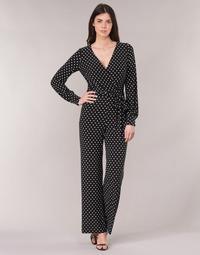 Υφασμάτινα Γυναίκα Ολόσωμες φόρμες / σαλοπέτες Lauren Ralph Lauren POLKA DOT WIDE LEG JUMPSUIT Black / Άσπρο