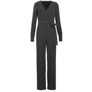 Υφασμάτινα Γυναίκα Ολόσωμες φόρμες   σαλοπέτες Lauren Ralph Lauren POLKA  DOT WIDE LEG JUMPSUIT Black   8b2a480883e