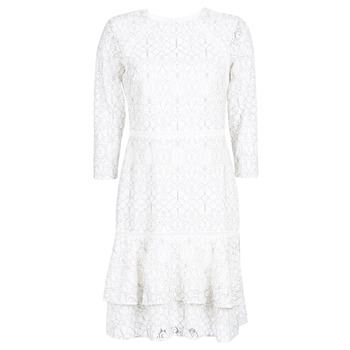 Υφασμάτινα Γυναίκα Κοντά Φορέματα Lauren Ralph Lauren LONG SLEEVE-LACE DAY DRESS Άσπρο / Black