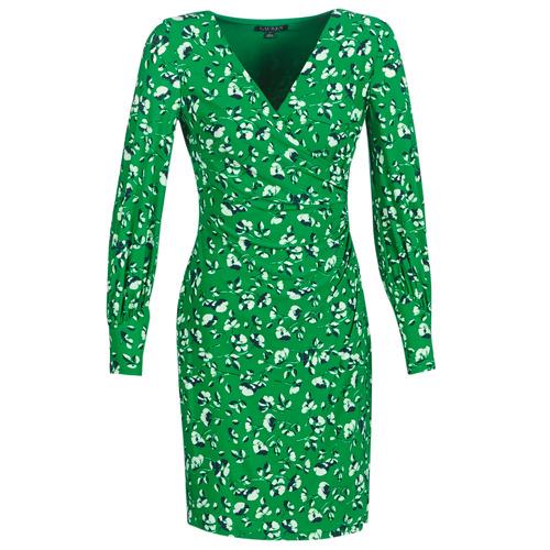 Υφασμάτινα Γυναίκα Κοντά Φορέματα Lauren Ralph Lauren FLORAL PRINT-LONG SLEEVE-JERSEY DAY DRESS Green