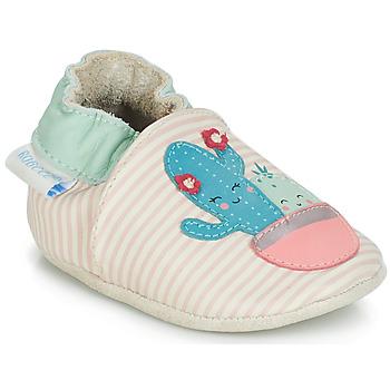 Παπούτσια Κορίτσι Σοσονάκια μωρού Robeez CACTUS Ecru / Ροζ
