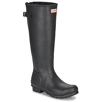 Παπούτσια Γυναίκα Μπότες βροχής Hunter ORIGINAL BACK ADJUSTABLE Black