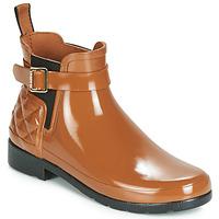 Παπούτσια Γυναίκα Μπότες βροχής Hunter REFINED GLOSS QUILT CHELSEA Camel