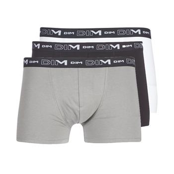 Εσώρουχα Άνδρας Boxer DIM COTON STRETCH X3 Black / Grey / Άσπρο