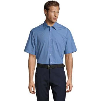 Υφασμάτινα Άνδρας Πουκάμισα με κοντά μανίκια Sols BRISTOL MODERN WORK Azul