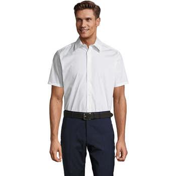 Υφασμάτινα Άνδρας Πουκάμισα με κοντά μανίκια Sols BROADWAY STRECH MODERN Blanco