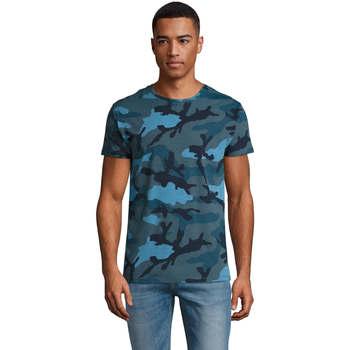 Υφασμάτινα Άνδρας T-shirt με κοντά μανίκια Sols CAMOUFLAGE DESIGN MEN Azul
