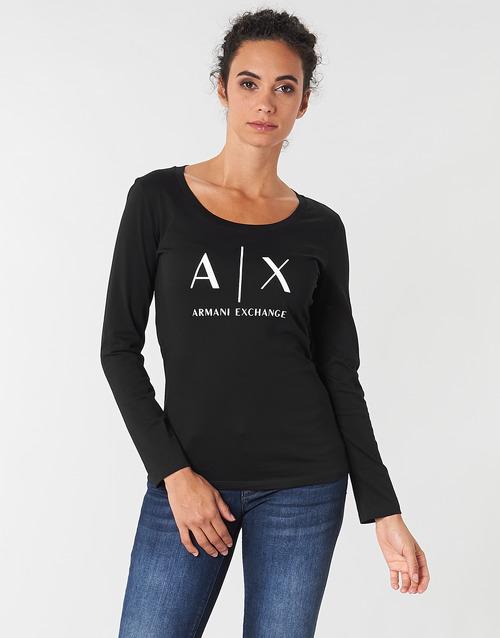 Υφασμάτινα Γυναίκα Μπλουζάκια με μακριά μανίκια Armani Exchange 8NYTDG-YJ16Z-1200 Black