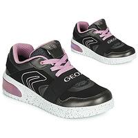 Παπούτσια Κορίτσι Ψηλά Sneakers Geox J XLED GIRL Black / Ροζ / Led