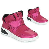 Παπούτσια Κορίτσι Ψηλά Sneakers Geox J XLED GIRL Ροζ / Fuchsia / Black / Led