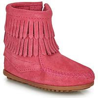 Παπούτσια Κορίτσι Μπότες Minnetonka DOUBLE FRINGE SIDE ZIP BOOT Ροζ