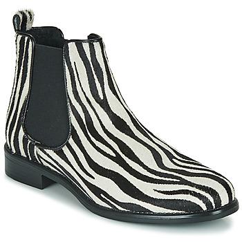 Παπούτσια Γυναίκα Μπότες Betty London HUGUETTE Black / Άσπρο / Ζέβρα