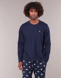 Υφασμάτινα Άνδρας Μπλουζάκια με μακριά μανίκια Ralph Lauren L/S CREW-CREW-SLEEP TOP Marine