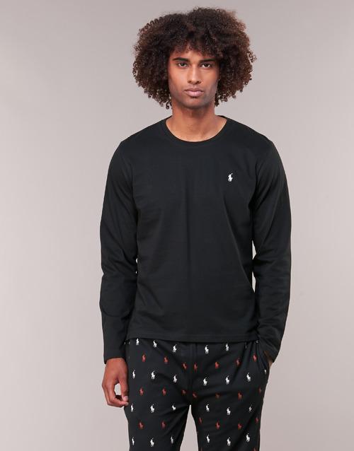 Υφασμάτινα Άνδρας Μπλουζάκια με μακριά μανίκια Polo Ralph Lauren L/S CREW-CREW-SLEEP TOP Black