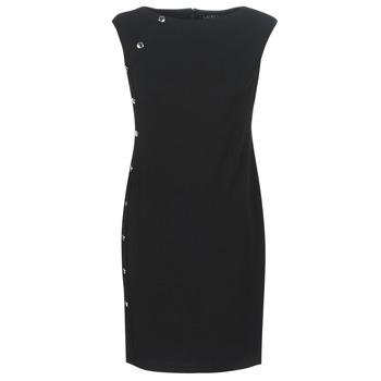 Υφασμάτινα Γυναίκα Κοντά Φορέματα Lauren Ralph Lauren BUTTON-TRIM CREPE DRESS Black