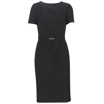 Υφασμάτινα Γυναίκα Μακριά Φορέματα Lauren Ralph Lauren BELTED SHORT SLEEVE DRESS Black