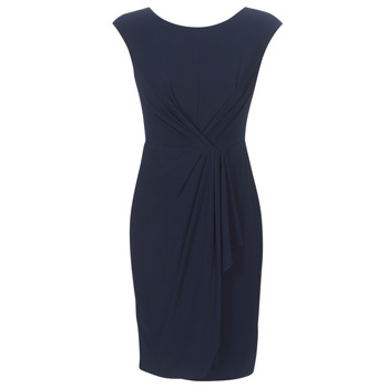 Υφασμάτινα Γυναίκα Κοντά Φορέματα Lauren Ralph Lauren RUCHED CAP SLEEVE DRESS Marine