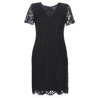 Υφασμάτινα Γυναίκα Κοντά Φορέματα Lauren Ralph Lauren SCALLOPED LACE DRESS Black