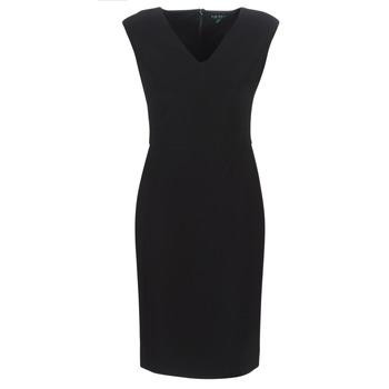 Υφασμάτινα Γυναίκα Μακριά Φορέματα Lauren Ralph Lauren BLACK CAP SLEEVE DAY DRESS Black