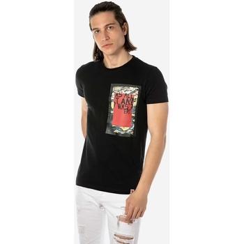 T-shirt με κοντά μανίκια Brokers ΑΝΔΡΙΚΟ T-SHIRT ΜΑΥΡΟ TRENDY ΣΤΑΜΠΑ