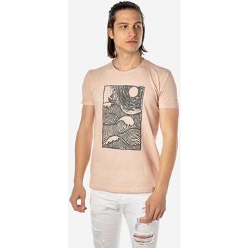 Υφασμάτινα Άνδρας T-shirt με κοντά μανίκια Brokers ΑΝΔΡΙΚΟ T-SHIRT  ΡΟΖ ΜΕ ΣΤΑΜΠΑ Ροζ