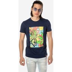 Υφασμάτινα Άνδρας T-shirt με κοντά μανίκια Brokers ΑΝΔΡΙΚΟ T-SHIRT  ΙΝΤΙΓΚΟ ΜΕ ΠΟΛΥΧΡΩΜΗ ΣΤΑΜΠΑ ΙΝΤΙΓΚΟ