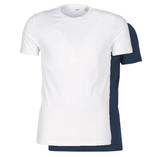 Υφασμάτινα Άνδρας T-shirt με κοντά μανίκια Levi's SLIM 2PK CREWNECK 1 Marine / Άσπρο