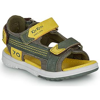 Παπούτσια Αγόρι Σανδάλια / Πέδιλα Kickers PLANE Kaki / Yellow