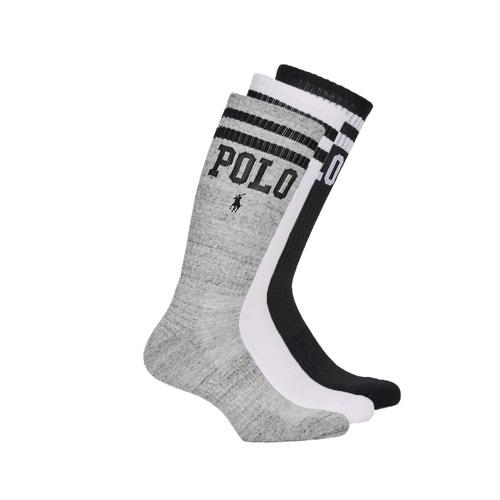 Αξεσουάρ Άνδρας Κάλτσες Polo Ralph Lauren 3PK DBLE BAR-CREW-3 PACK Άσπρο / Grey / Black