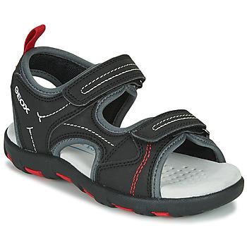Παπούτσια Αγόρι Σπορ σανδάλια Geox JR SANDAL PIANETA Black / Red
