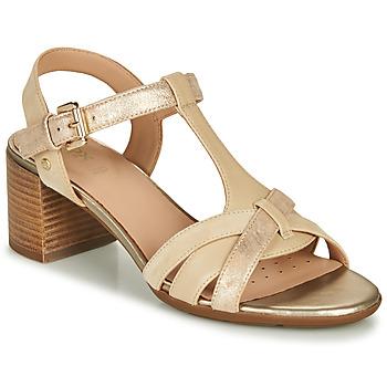Παπούτσια Γυναίκα Σανδάλια / Πέδιλα Geox D MARYKARMEN MID SAN Beige / Gold