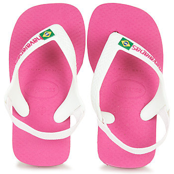 Παπούτσια Κορίτσι Σαγιονάρες Havaianas BABY BRASIL LOGO II Pink / Ασπρό