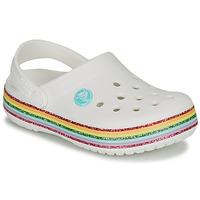 Παπούτσια Κορίτσι Σαμπό Crocs CROCBAND RAINBOW GLITTER CLG K Άσπρο
