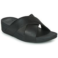 Παπούτσια Γυναίκα Τσόκαρα FitFlop LULU CROSS SLIDE SANDALS - LEATHER Black