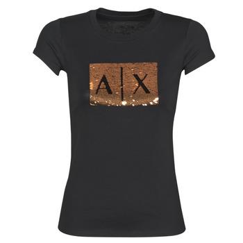 Υφασμάτινα Γυναίκα T-shirt με κοντά μανίκια Armani Exchange HONEY Black