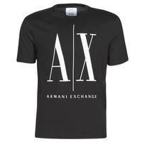 Υφασμάτινα Άνδρας T-shirt με κοντά μανίκια Armani Exchange HULO Black