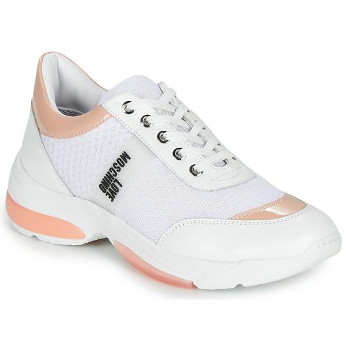Παπούτσια Γυναίκα Χαμηλά Sneakers Love Moschino RUNNINLOVE Άσπρο / Ροζ