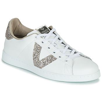 Παπούτσια Γυναίκα Χαμηλά Sneakers Victoria TENIS PIEL GLITTER Άσπρο / Ροζ
