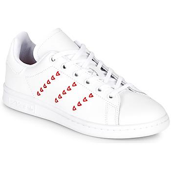 Παπούτσια Κορίτσι Χαμηλά Sneakers adidas Originals STAN SMITH J Άσπρο / Red / Cur