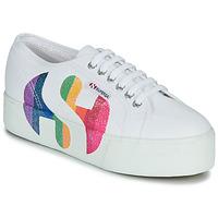 Παπούτσια Γυναίκα Χαμηλά Sneakers Superga 2790-COTWPRINTEDLOGOGLITTER Άσπρο