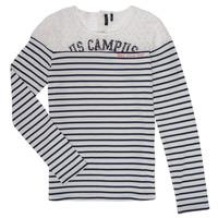 Υφασμάτινα Κορίτσι Μπλουζάκια με μακριά μανίκια Ikks DELLYSE Άσπρο / Black