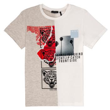 Υφασμάτινα Αγόρι T-shirt με κοντά μανίκια Ikks RULIO Beige / Άσπρο