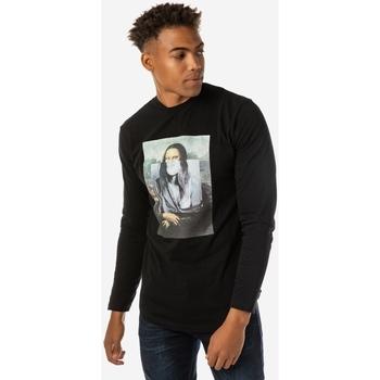Υφασμάτινα Άνδρας Μπλουζάκια με μακριά μανίκια Brokers ΑΝΔΡΙΚΗ ΜΠΛΟΥΖΑ  ΜΑΥΡΗ DA VINCI Μαύρο